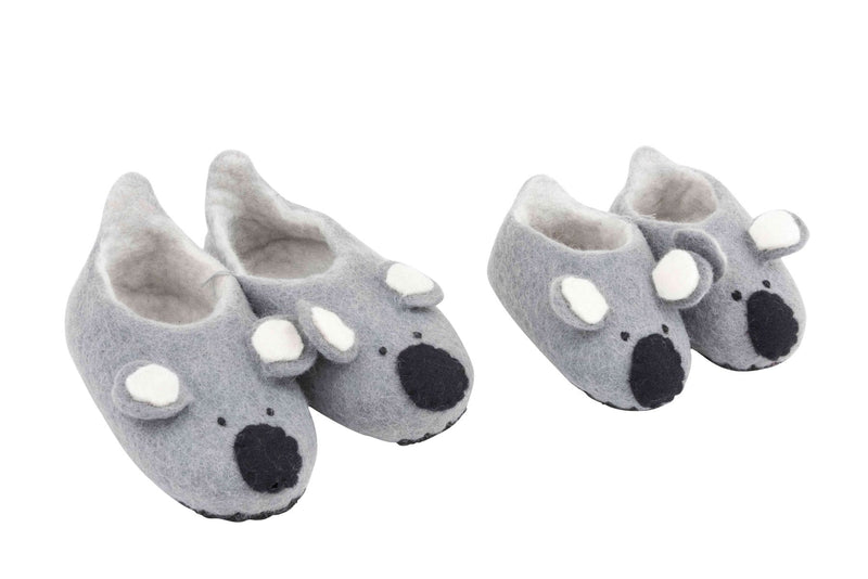 Cute, furry handmade felt koala slippers Shoes