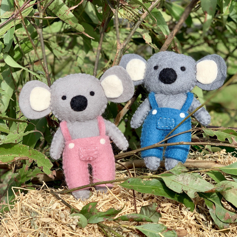 Sweet koala dolls in overalls