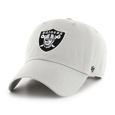 `47 Oakland Raiders NFL Clean Up Strapback Baseball Cap Dad Hat Steel Grey