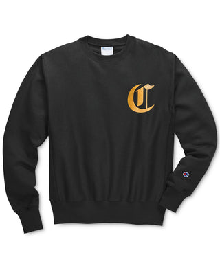 Champion Men's Life® Men's Reverse Weave® Crew, Old English Lettering Black