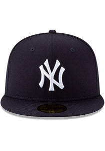 New Era New York Yankees Mens Navy Blue New York Yankees Wool 59Fifty Fitted Fitted Hat