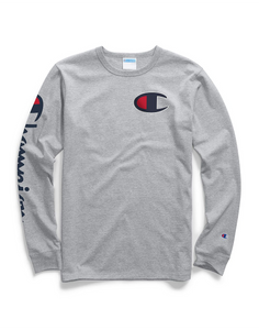 Champion Life® Men's Long-Sleeve Tee, Big C Logo Oxford Grey