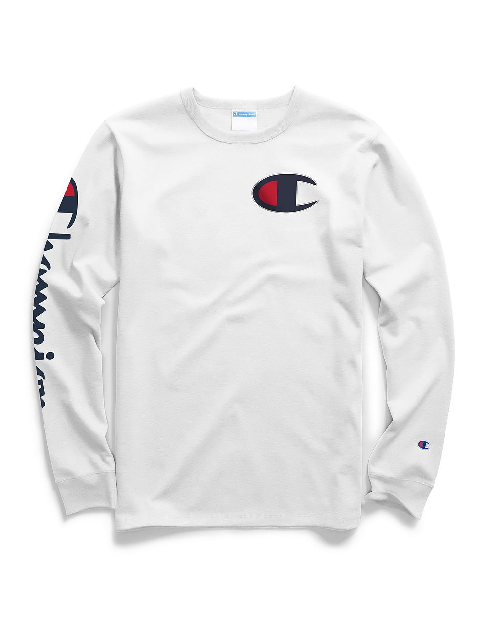 Champion Life® Men's Long-Sleeve Tee, Big C Logo White