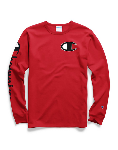 Champion Life® Men's Long-Sleeve Tee, Big C Logo Team Red Scarlet