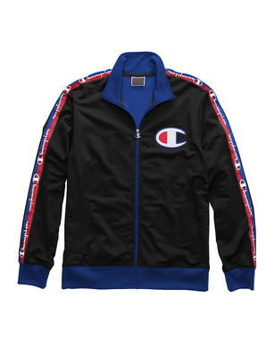 Champion Life® Men's Track Jacket, Big C & Logo Taping Black/Surf The Web