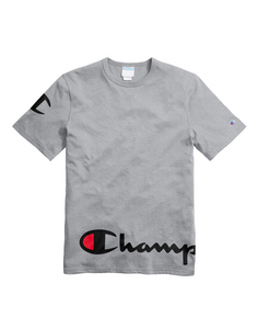 Champion Life® Men's Heritage Tee, Wraparound Logo Oxford Grey