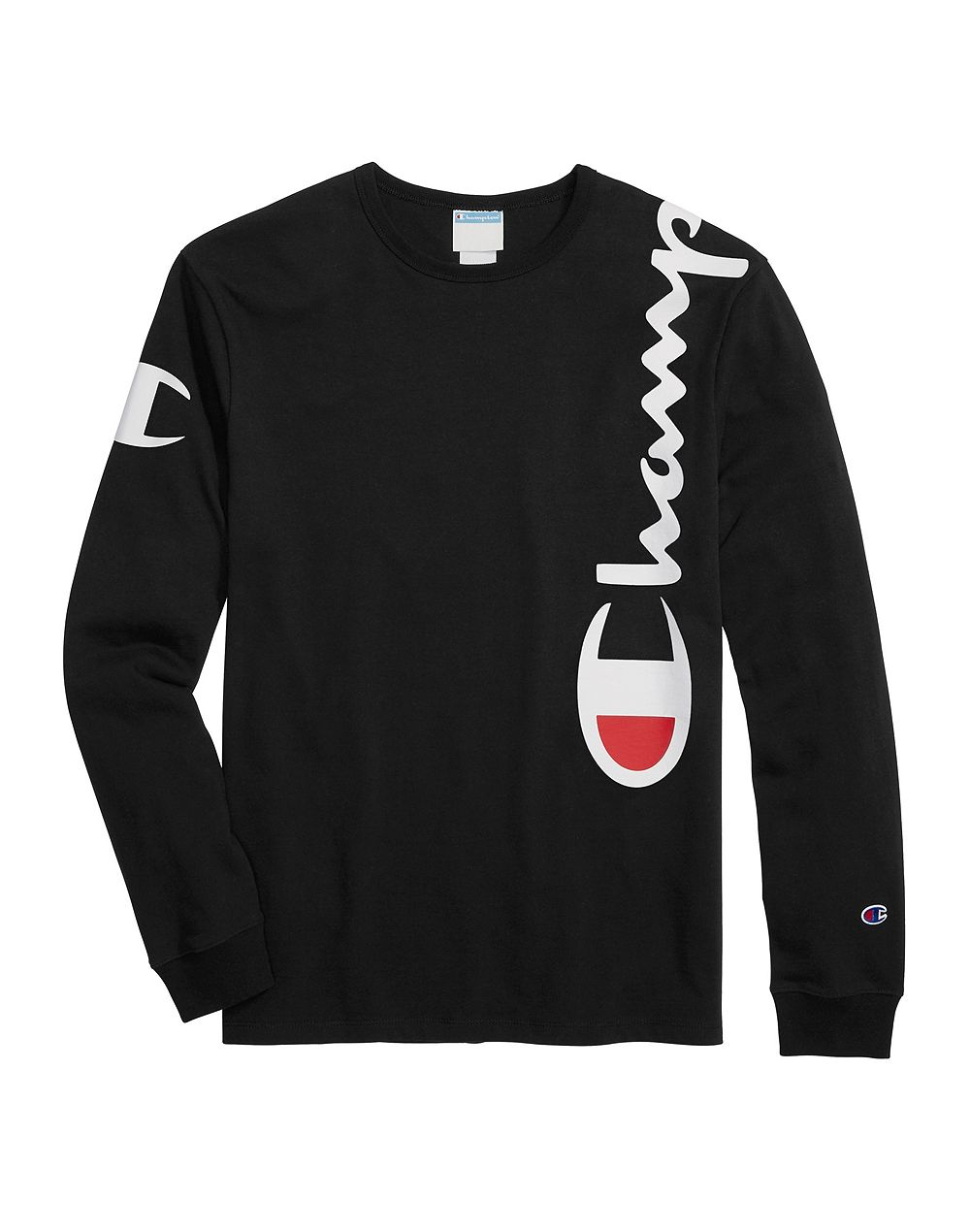 Champion Life® Men's Heritage Long-Sleeve Tee, Over The Shoulder Logo Black