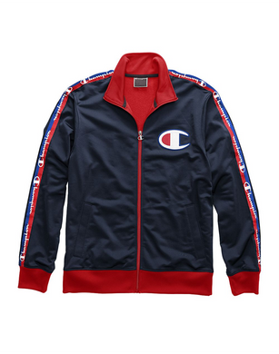 Champion Life® Men's Track Jacket, Big C & Logo Taping Navy/Scarlet