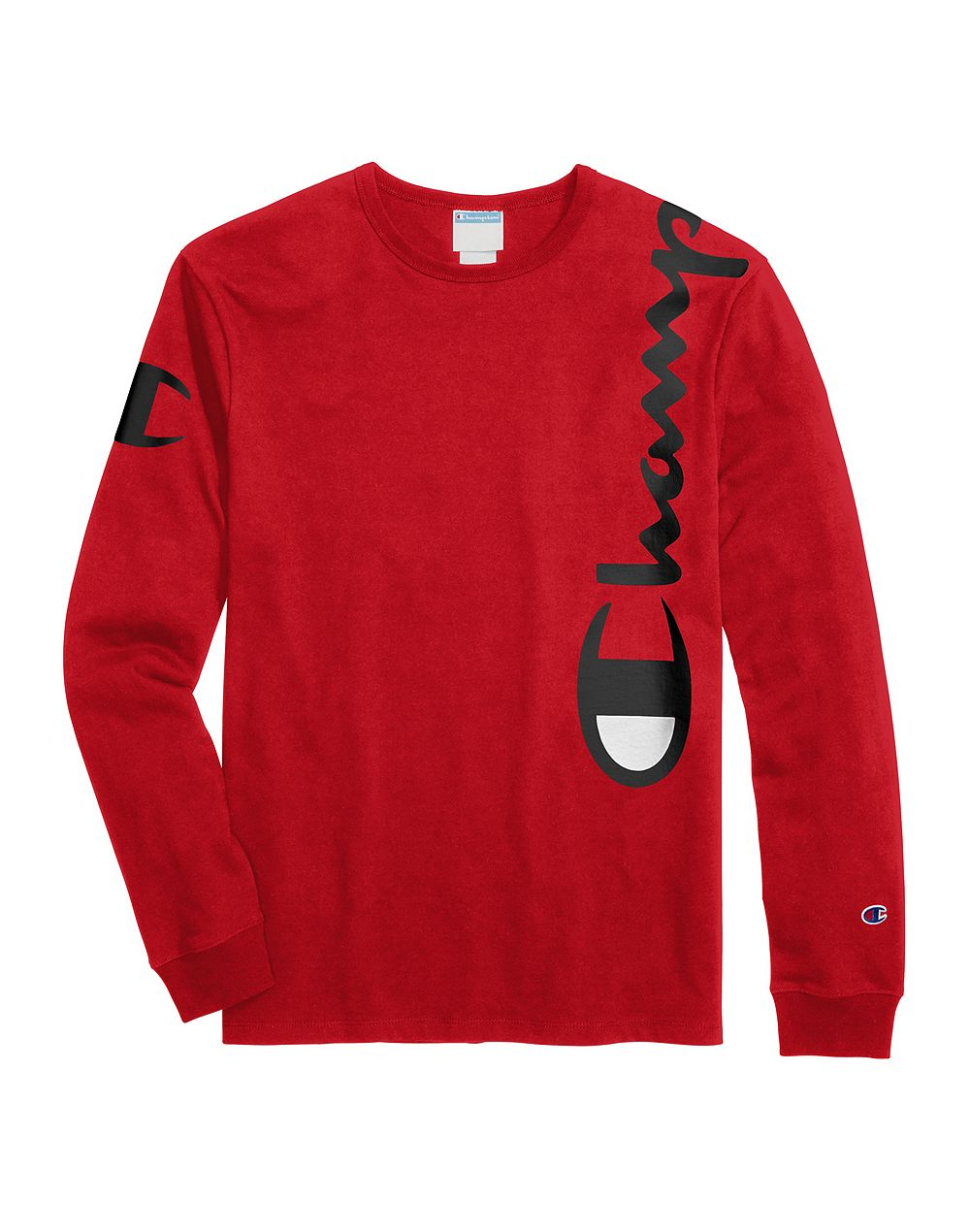 Champion Life® Men's Heritage Long-Sleeve Tee, Over The Shoulder Logo Team Red Scarlet