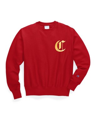 Champion Men's Life® Men's Reverse Weave® Crew, Old English Lettering Team Red Scarlet