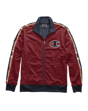Champion Life® Men's Track Jacket, Big C & Logo Taping Cherry Pie/Navy