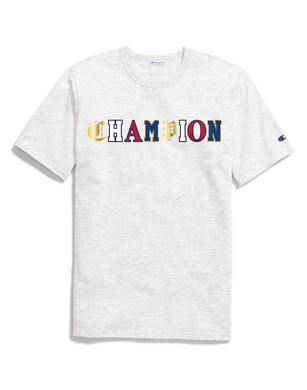 Champion LIFE Men's Heritage Tee, Red w/Old English Lettering Grey