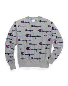 Champion Life Men's Reverse Weave® Crew, All-over Logo Multi Scale Script Oxford Grey
