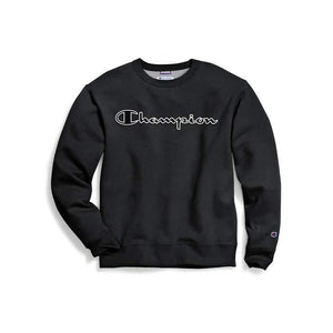 Champion Mens Powerblend Fleece Crew, Logo With White Chainstitch - City Limit NY