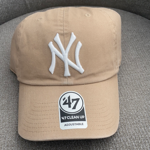 New York Yankees 47 Brand Khaki Clean Up Adjustable Hat with Sky Blue Brim