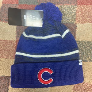 MLB 47` Brand Chicago Cubs Winter Hat Pom Fairfax Cuffed Knit Hat Bobble