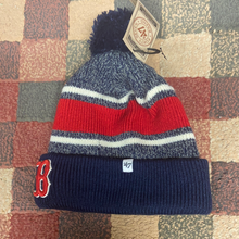 Load image into Gallery viewer, MLB 47` Brand Boston Red Sox Winter Hat Pom Fairfax Cuffed Knit Hat Bobble