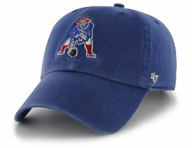 47 Brand. New England Patriots Clean Up Cap - Throwback Logo - Royal Blue - City Limit NY