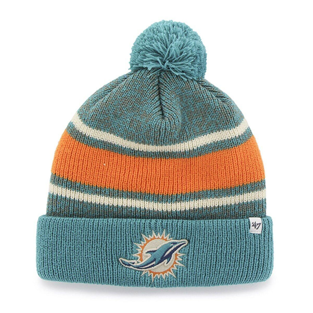 NFL Woolly Hat Miami Dolphins Winter Hat Pom Fairfax Cuffed Knit Hat Bobble - City Limit NY