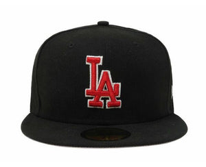 New Era 59Fifty Hat MLB Los Angeles Dodgers Mens Black Red White 5950 Cap Fitted - City Limit NY