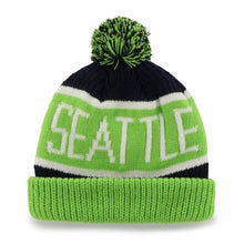 Load image into Gallery viewer, Seattle Seahawks '47 Brand NFL Calgary Cuff Knit Beanie - Navy/Lime