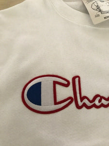 Mens White Champion Reverse Weave Pullover Sweatshirt Champion LOGO
