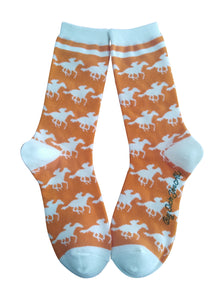 Derby Horses in Orange and White