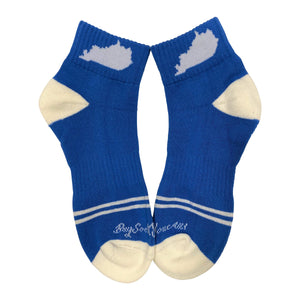 Kentucky Shape Ankle Sock Blue and White