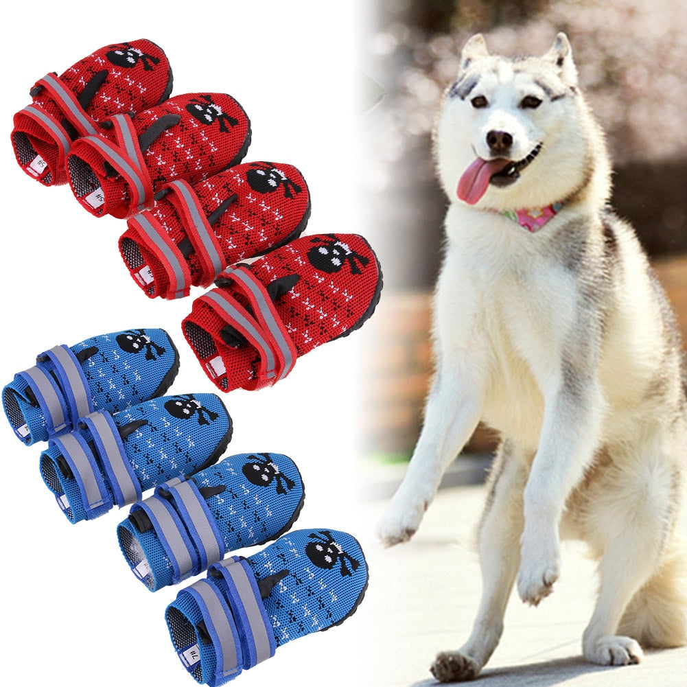 Dog Paws Protector Waterproof Dog Shoes Weave Dog Boots Reflective  Straps and Anti-Slip Sole For Dog's Supplies