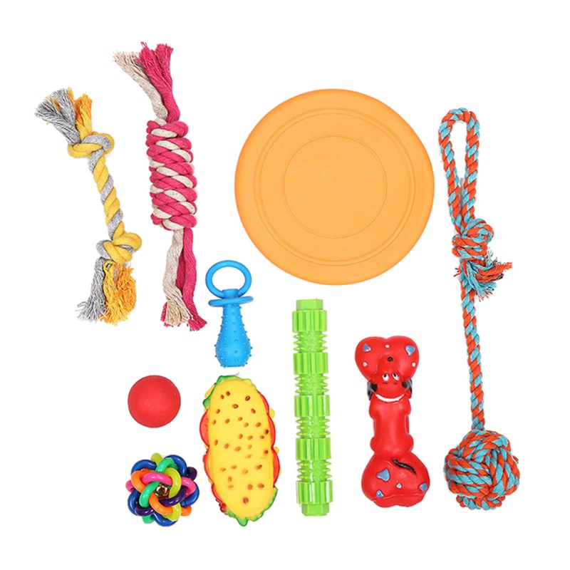 10PCS Pet Toys Set Cotton Rope Ball Catcher Dog Toys For Small Large Dogs Cats Puppy Chew Toys Dog Supplies