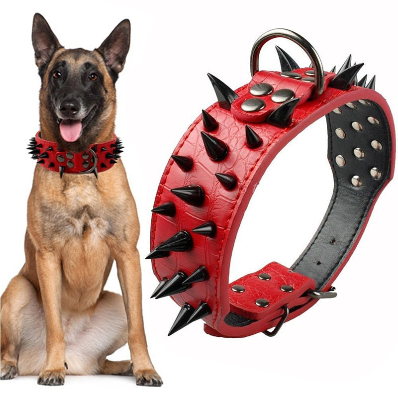 1 Pcs Sharp Spiked Studded Anti Bite Dog Collar Stylish Adjustable PU Leather Dog Basic Collars For Medium And Large Pet Supply