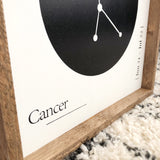 Cancer Zodiac Constellation Wood Sign