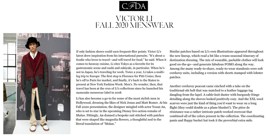 CFDA - FW20 Feature