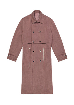 Trench Coat Brown + Pink Stripe