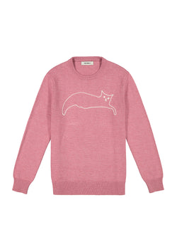 Embroidered Cat Crewneck Sweater