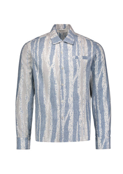 Long Sleeve Camp Shirt Blue Forest