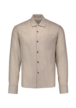 Long Sleeve Camp Shirt Taupe