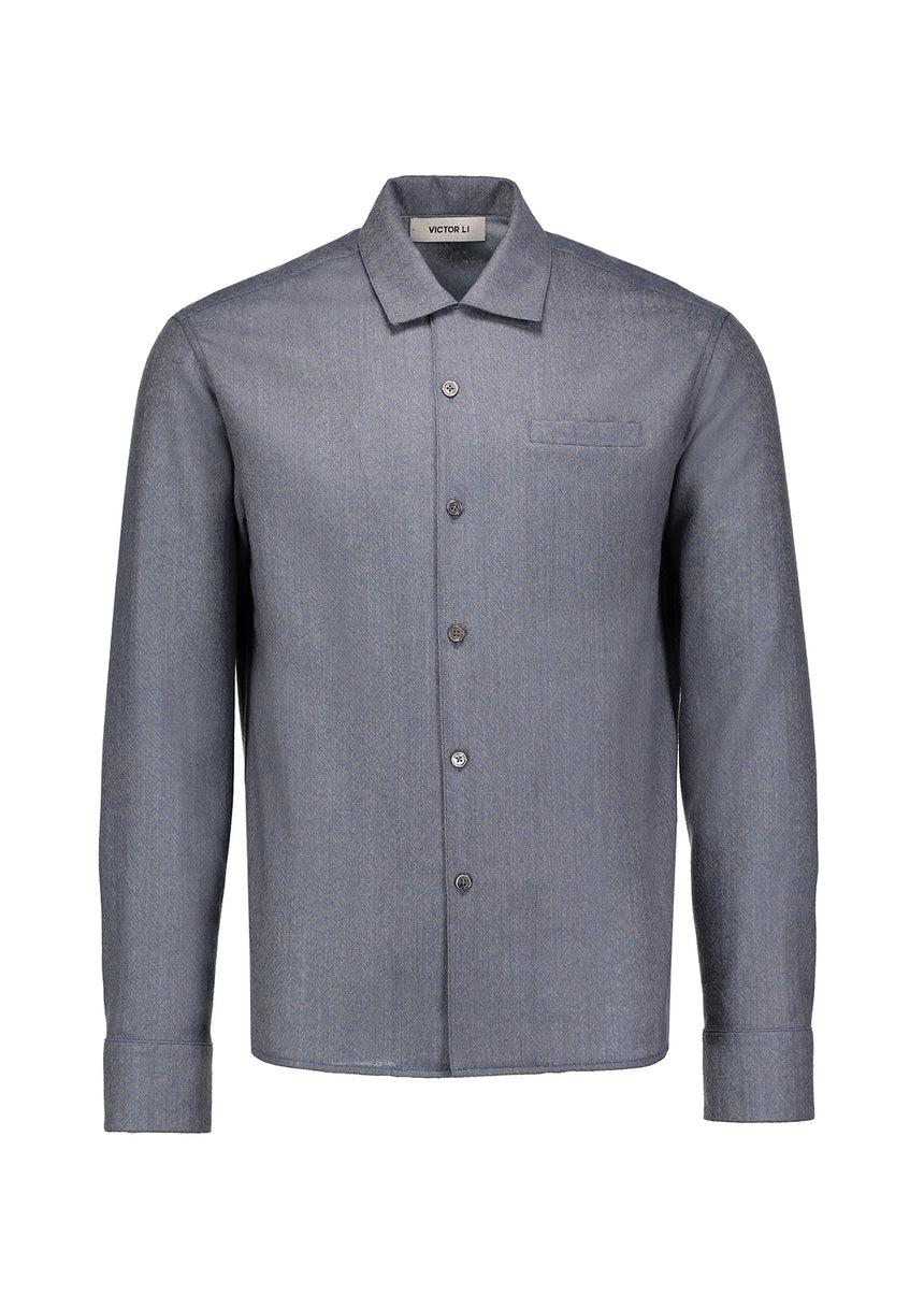 Long Sleeve Camp Shirt Dusty Blue