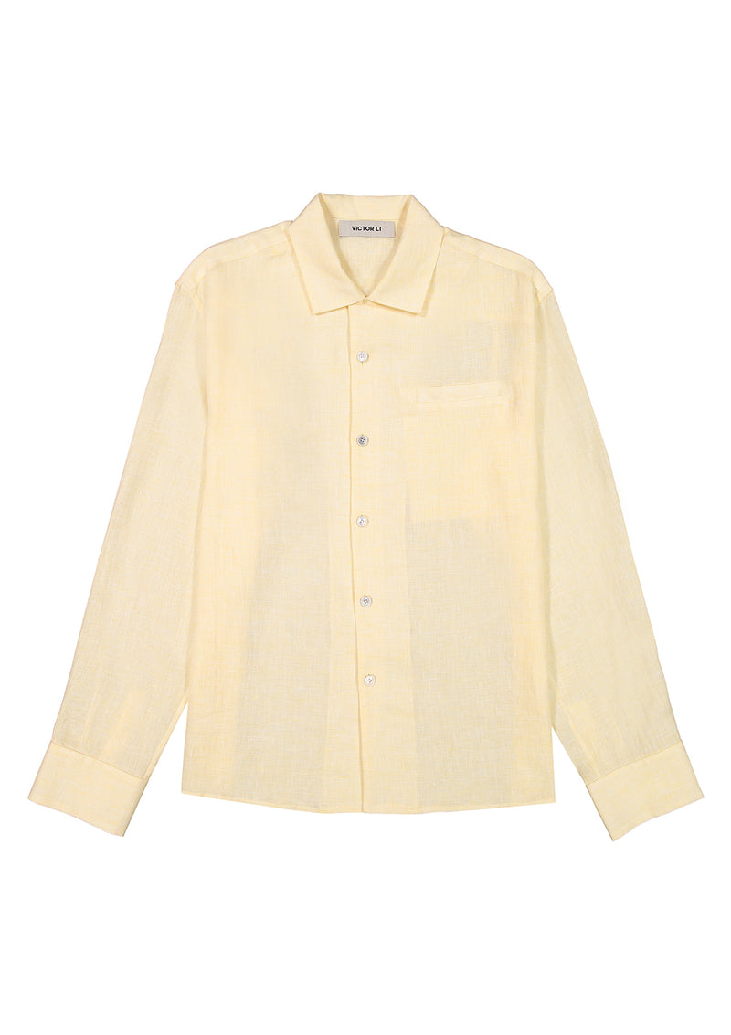 Long Sleeve Camp Shirt Yellow