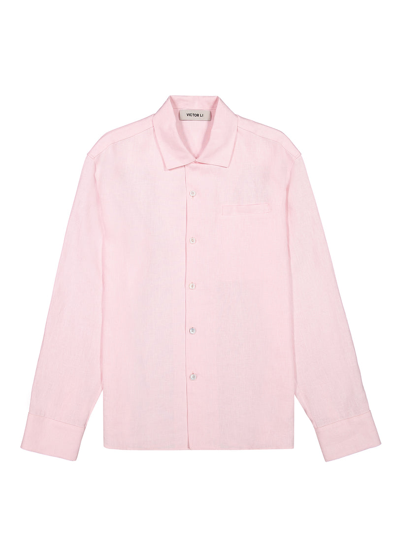 Long Sleeve Camp Shirt Pink