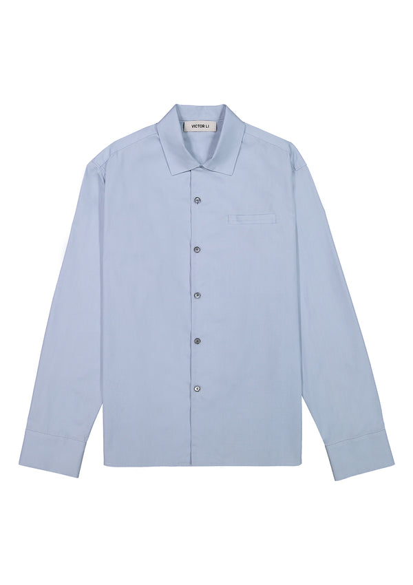 Long Sleeve Camp Shirt Blue