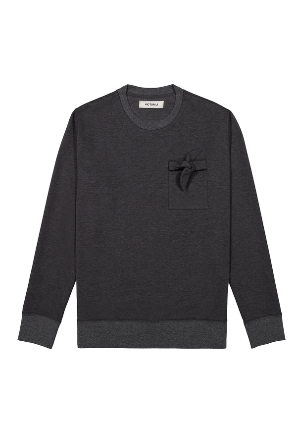 Sweatshirt with Tie Grey
