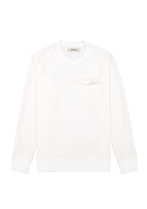 Sweatshirt with Tie Cream