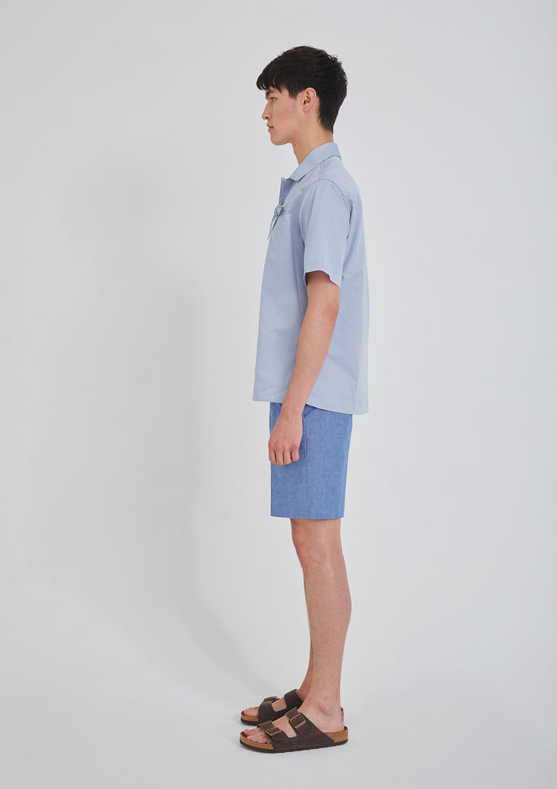 Short Sleeve Camp Shirt Blue