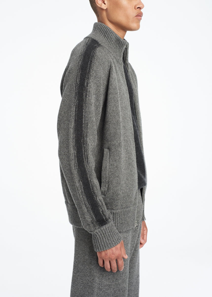 Cashmere Zip Up Cardigan Grey