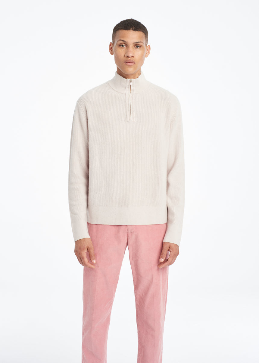 Half Zip Turtleneck Cream
