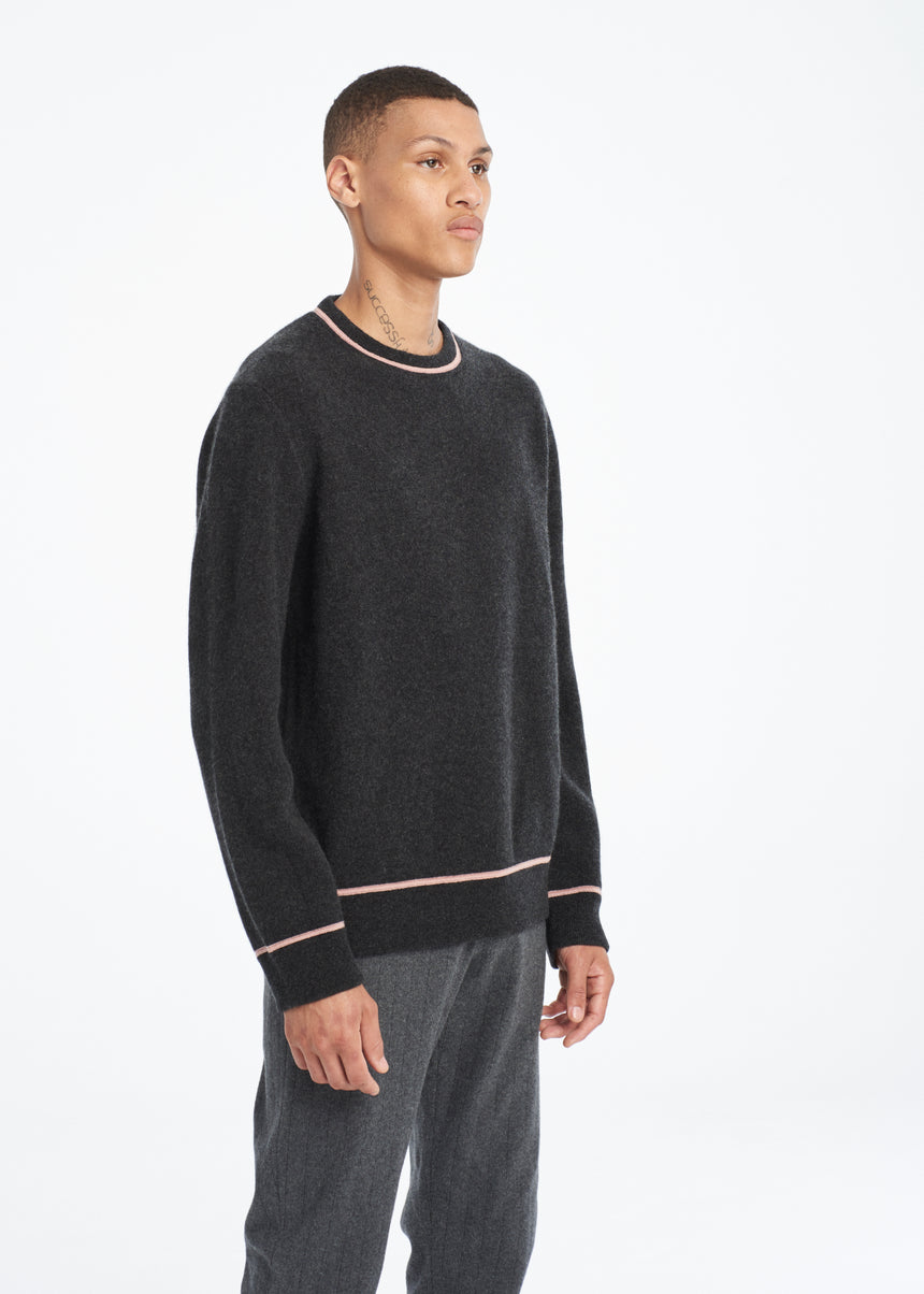Jacquard Stripe Crewneck Sweater