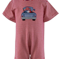 Just Blanks- Red Stripe Boy's Romper