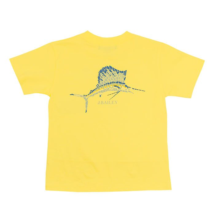 J. Bailey- Mosaic Fish on Yellow Logo Tee