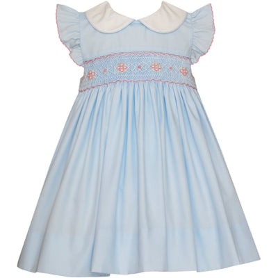 Petit Bebe- Ava Lt Blue Poplin Dress w/ White Collar